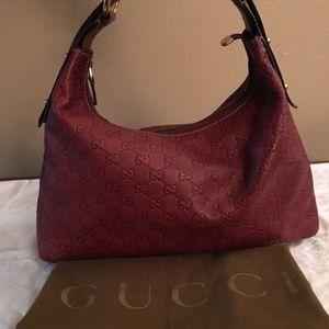 GUCCI Horsebit Chain Hobo Leather Bag